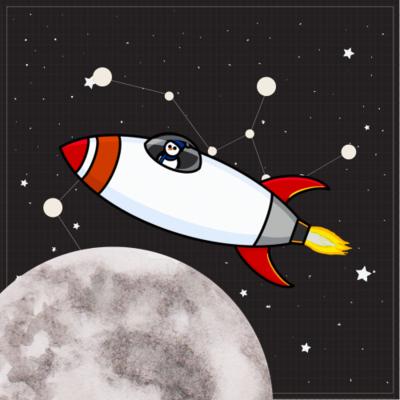 Snowman in a spaceship
